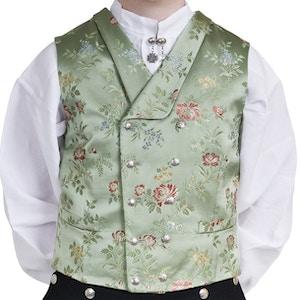 Lysegrønn brokadevest med sølvknapper og bomullskjorte..